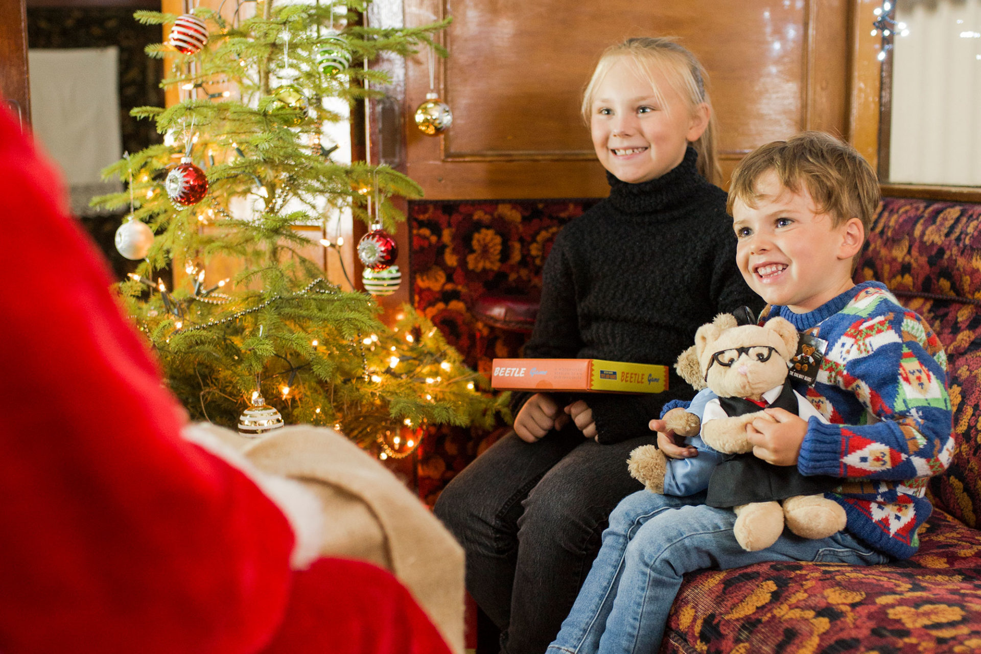 Children meeting Santa